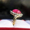 Victorian No-heat Ruby and Diamond Cluster Ring, AGL 12