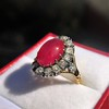 Victorian No-heat Ruby and Diamond Cluster Ring, AGL 21
