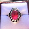 Victorian No-heat Ruby and Diamond Cluster Ring, AGL 6