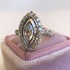 .93ctw Vintage Marquise Cut Diamond Navette Ring 10