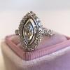 .93ctw Vintage Marquise Cut Diamond Navette Ring 10