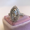 .93ctw Vintage Marquise Cut Diamond Navette Ring 8