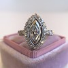 .93ctw Vintage Marquise Cut Diamond Navette Ring 6