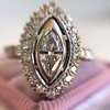 .93ctw Vintage Marquise Cut Diamond Navette Ring 26
