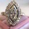 .93ctw Vintage Marquise Cut Diamond Navette Ring 26