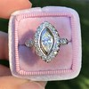 .93ctw Vintage Marquise Cut Diamond Navette Ring 7