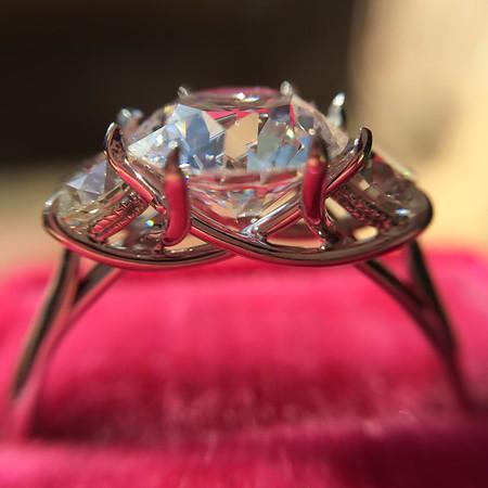 Old European Cut Diamond 3-Stone Trellis Setting, by Steven Kirsch