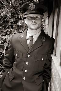 Handsome young man in american military uniform ww2