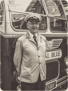 Vintage bus and driver