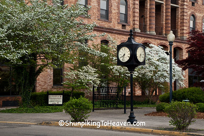 Railroad Clock and White Dogwood, Portsmouth, Ohio