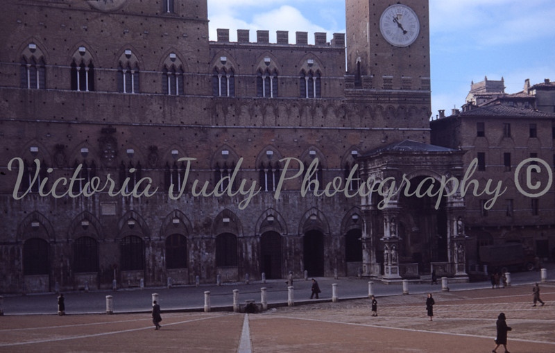 Square in Sienna, Italy - 1949<br /> <br /> Taken By: Evelyn M. Stillwagon