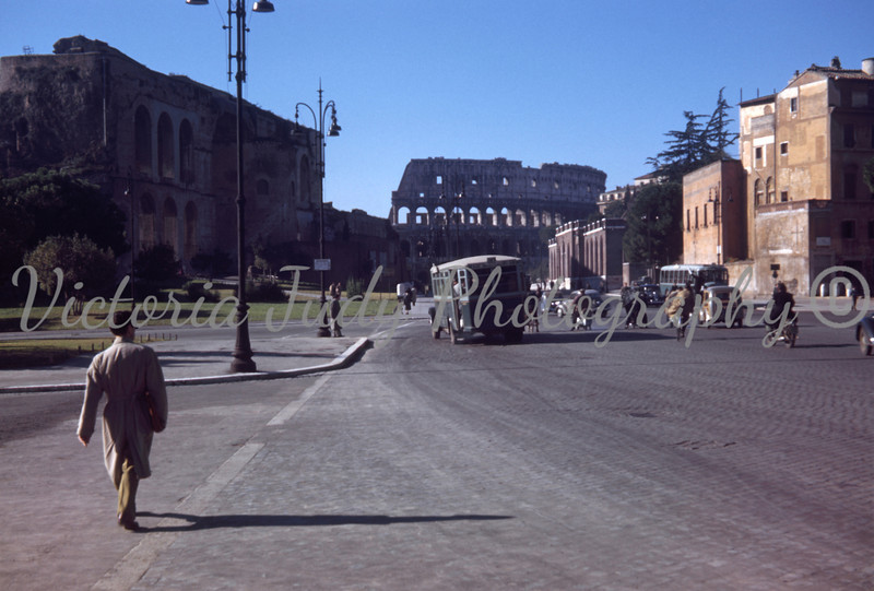 Collesium Taken Down Street In Rome - 1949<br /> <br /> Taken By: Evelyn M. Stillwagon