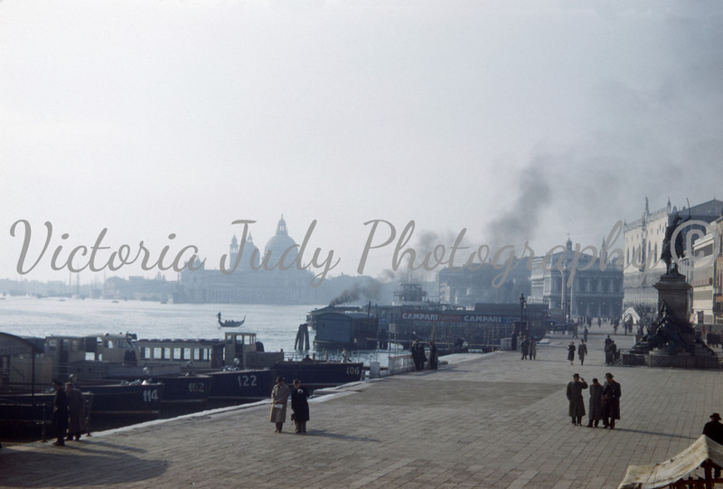 Grand Canal with Church In Background -Venice, Italy - 1949<br /> <br /> Taken By: Evelyn M. Stillwagon
