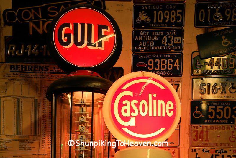 Old Gas Pumps Lit Up, Pierce County, Wisconsin
