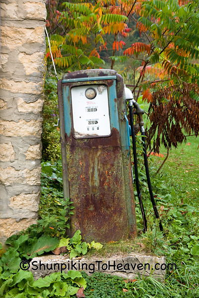 Rusty Gas Pump by Old Garage with Sumac, Richland County, Wisconsin