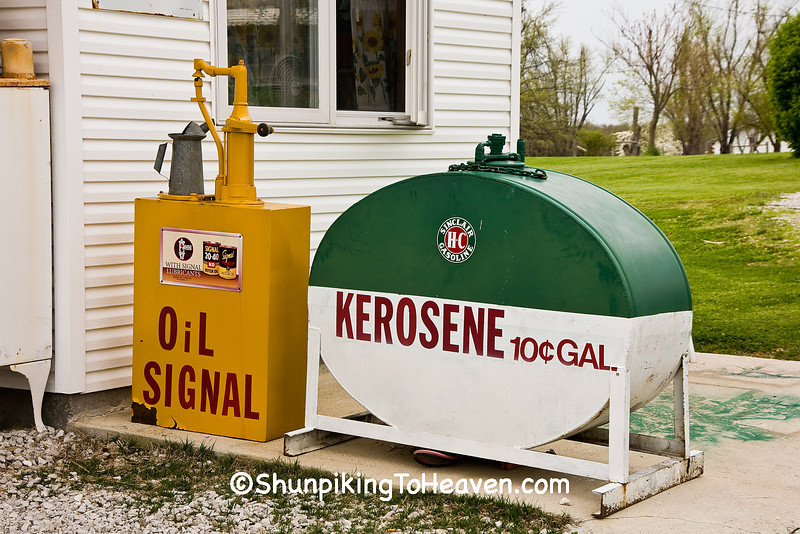 Vintage Oil Pump Dispenser and Kerosene Tank, Gay Parita Sinclair Station on Old Route 66, Lawrence County, Missouri