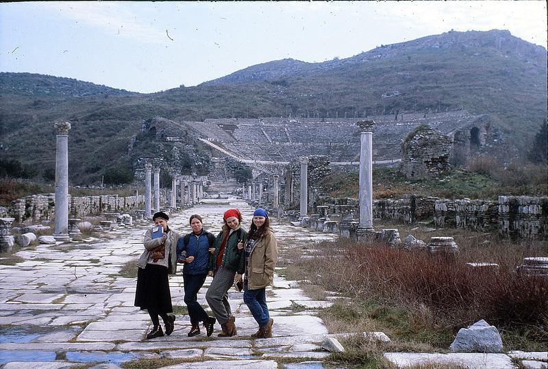 Jena, Annie, Beth, Margie at Ephesos, January 6, 1980
