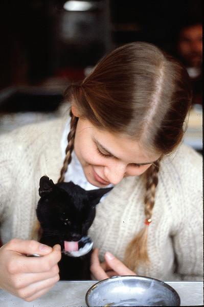 Jena and kitty with rice pudding, Kusadasi, January 8, 1980