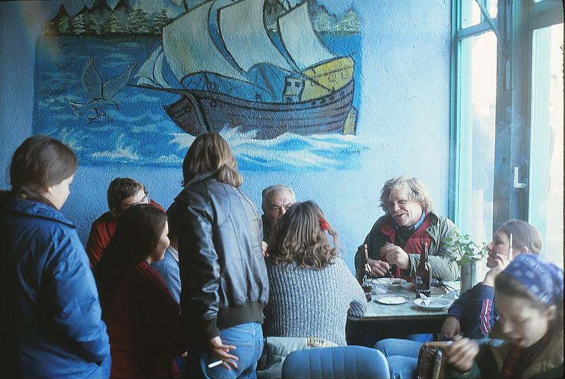 Annie, Jeremy, Margie, Liz, the ferry's captain, Katie, Kevin, Melissa, Beth, Canakkale, January 2, 1980