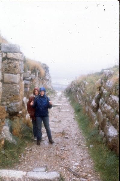 Melissa and Faith in the rain, January 7, 1980