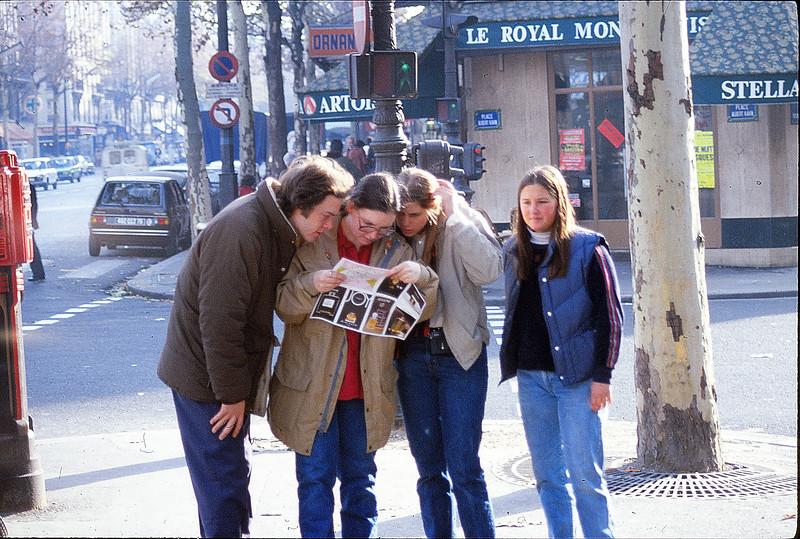 Paul, Margie, Jena, Melissa in Paris, December 4, 1979.