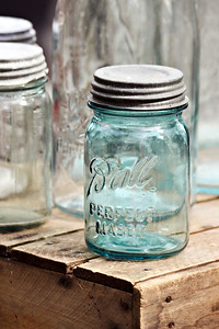 Depression Glass Mason Jar