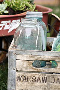 Wooden Crate of Mason Jars