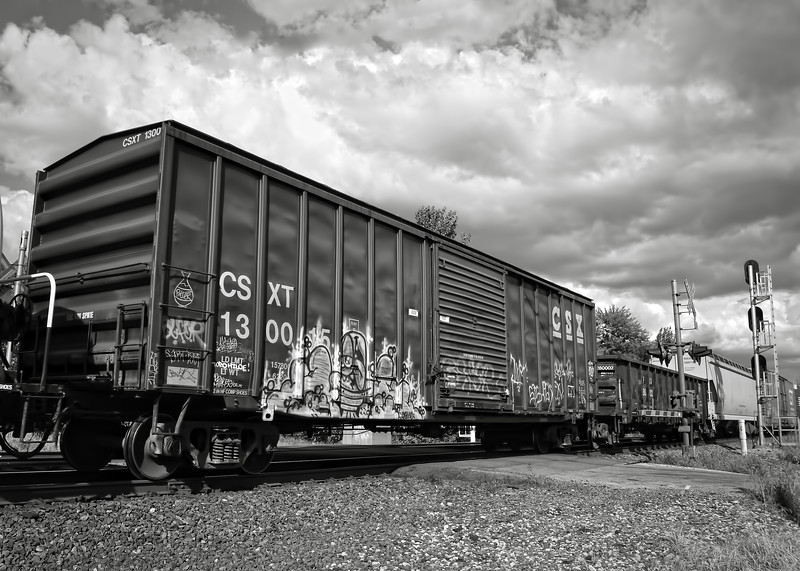 Boxcar Graffiti in Black and White