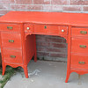 "SOLD.<br /> Desk after. ""Cherry on Top"" red. LOVE the way this turned out."