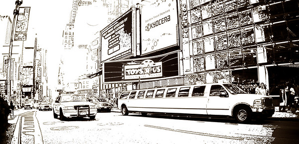 New York SUV-type limousine parked on Times Square