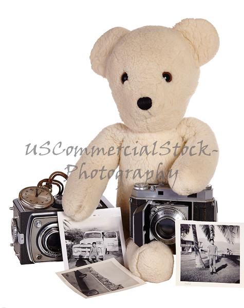 Teddy bear with vintage camera and photos
