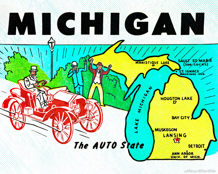 Created around 1950, this vintage travel deal was designed to celebrate Michigan's automotive history. This image combines artistic embellishments with a photograph of the original decal.