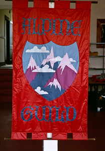 I joined Bill Nicolai, founder of Early Winters, to make mountaineering tents in 1974. I designed this banner for the Alpine Guild and Carol Hickner (at the time Carol Yeatts) of Feathered Friends sewed it up from on hand nylon tafetta. It hung in the front window of our shop at the foot of Queen Anne Hill at 300 Queen Anne North, where we all worked, until the guild disbanded and Feathered Friends and Crescent Downworks went on to open their own shops. Early Winters remained at the little shop at 300 Queen Anne north until we came out with the first commercial Gore-Tex product, the Light Dimension tent, and were forced to find a larger space for manufacturing due to increased customer demand.