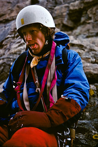 """Larry at the upper saddle, the end of the Black Ice route, mugging for the camera with a cartoonish, but well earned """"That was exhausting!' expression."""