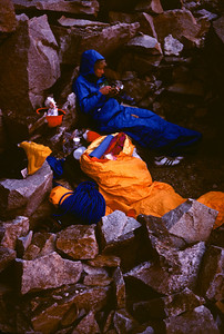 A late evening meal before settling in for the night at our bivouac site. Note my Early Winters Sleep Inn Gore-Tex bag cover.