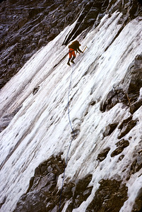 Day 2 - After approaching the base of the icefield from the Valhalla Traverse, Larry leads the first pitch on ice.