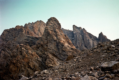 Teepe Pillar, a prominent granite column on the east side of the Grand Teton - 12,226'