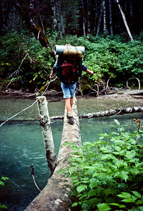 Dan trying to appear confident as he uses the wire and focuses on getting across the log bridge.