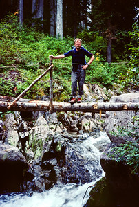 Pausing for my photo op on a one log bridge