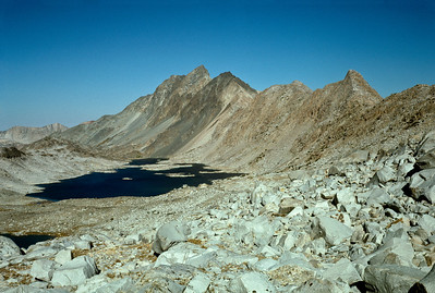 A summertime shot of Davis Lake and Mt. McGee from the Muir Trail side.
