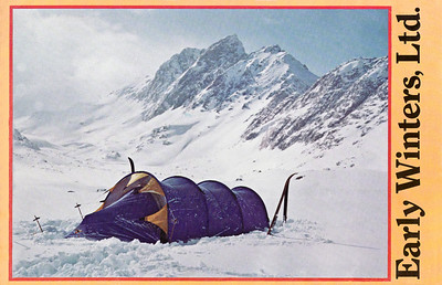 We camped on the frozen lake bed of McGee Lake. The south face of Mount McGee is in the background. My photo is featured in the print from the cover of our 1975 Early Winters catalog that showcased the Omnipotent.