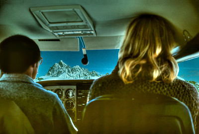 Jay and Larry view the Grand Teton from the air.