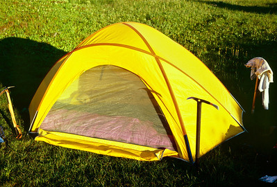 I designed the Starship tent with a tapered floor plan to fit three sleeping bags, side by side. It worked perfectly for our trip.