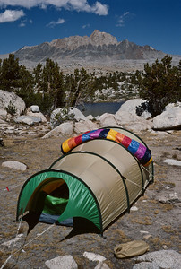 Omnipotent with custom Marmot bag laid out to dry. Mt. Humphreys dominates the view.