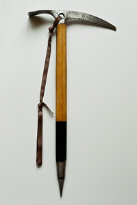 My Chouinard Frost 60cm piolet with laminated bamboo shaft. More of a specialty tool.