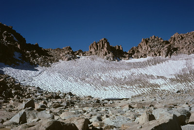 The permanent snowfield at the entrance to Lamarck Col.