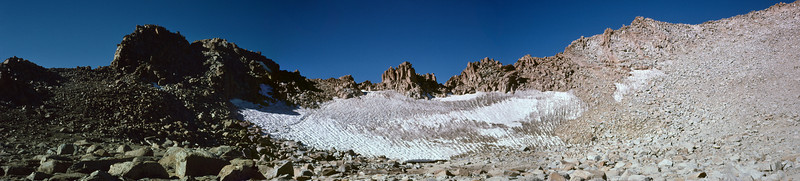 The permanent snowfield at the entrance to Lamarck Col. A panorama of the snowfield made from three slides after digitizing and stitching in Photoshop. I took these photos before digital and never imagined that I'd be able to combine them like this some day.