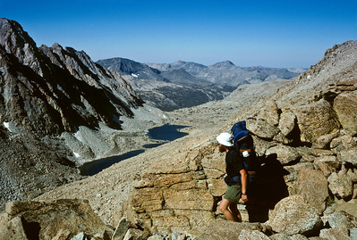 Looking down Darwin Canyon from Lamarck Col, the entrance to Kings Canyon National Park. Elevation at the col is 12,880 feet.