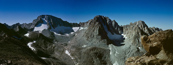 Another stitched panorama with Mt. Darwin on the left and Mt. Mendel on it's immediate right.