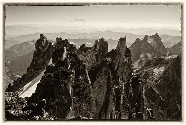 Mount Rainier from the summit of Dragonatil Peak. I shot the original color version of this photo with Kodak Ektachrome 64 using my trusty Rollei 35 miniature viewfinder camera.